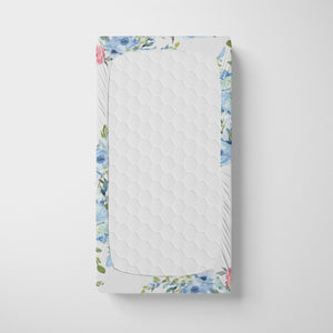 Blue and Pink Floral Personalized Crib Sheet