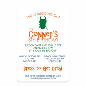 Bug Birthday Invitation | Swanky Press (front view)