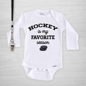 Hockey Is My Favorite Season Gerber Onesie®, long sleeved, PIPSY.COM