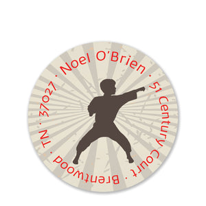 Karate Silhouette Return Address Stickers