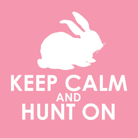 Keep calm and hunt on gift tag in pink Easter