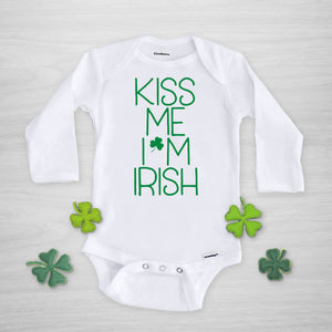 Kiss me I'm Irish St Patrick's Day Gerber Onesie, long sleeved