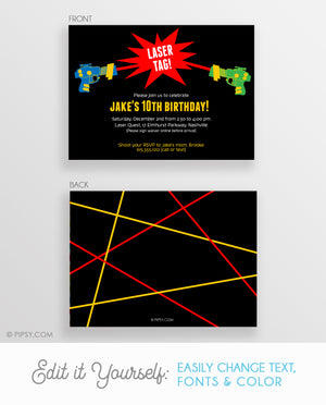 Laser Tag Birthday Invitations (DIY Printable)