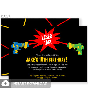 Laser Tag DIY Birthday Invitation | Instant Download Printable | Templett Invitation | PIPSY.COM