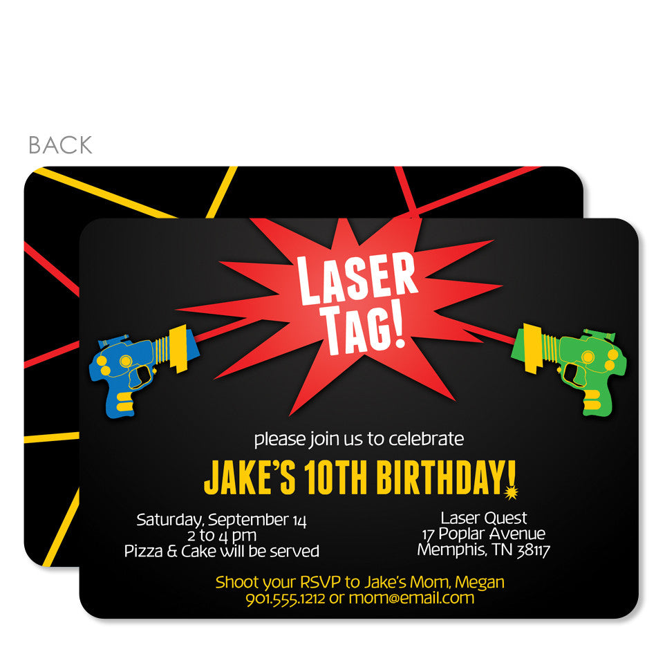 Laser Tag Birthday Invitations – Pipsy