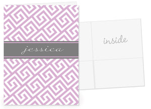 lavender greek key with a grey band for name pocket folder