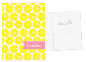 Lemon with pink name banner pocket folder