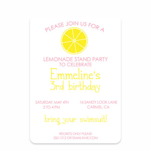 Lemonade Stand Birthday Invitation | Swanky Press (front view)