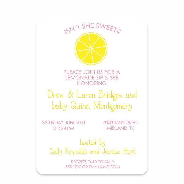 Lemonade Stand Sip And See Invitation