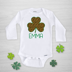 Leopard Print Shamrock Personalized Gerber Onesie for St. Patrick's Day, long sleeved