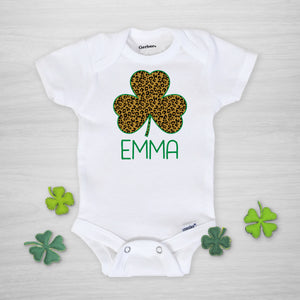 Leopard Print Shamrock Personalized Gerber Onesie for St. Patrick's Day, short sleeved