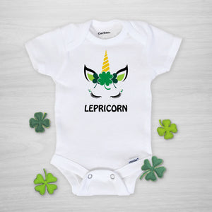 Lepricorn St. Patrick's Day Gerber Onesie, short sleeved
