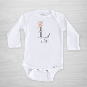 Lily Initial Onesie, Personalized with name, long sleeved