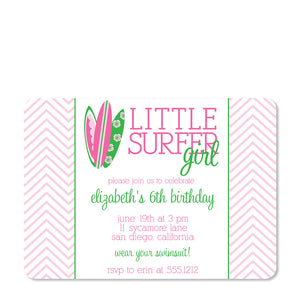 Little Surfer Girl Birthday Invitation | Swanky Press (front view)