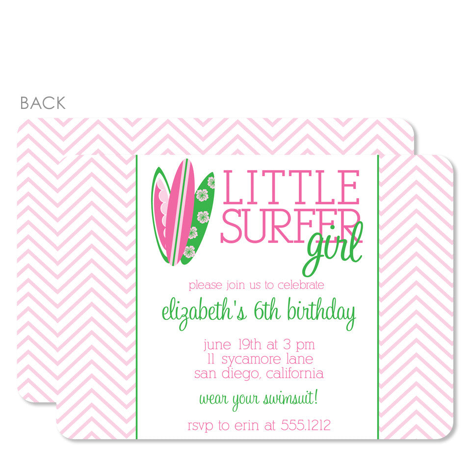 Little Surfer Girl Birthday Invitation