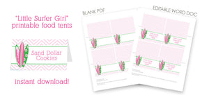 little surfer girl surfboard pink printable food tents