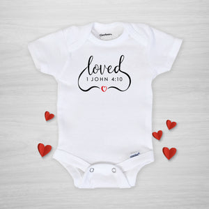 Loved Onesie, 1 John 4:10 Bible Verse, Gerber Onesie from Pipsy.com, short sleeved