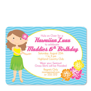 Luau Birthday Invitation | Swanky Press (front view)