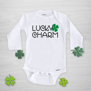 Lucky Charm St. Patrick's Day Shamrock Gerber Onesie, long sleeved
