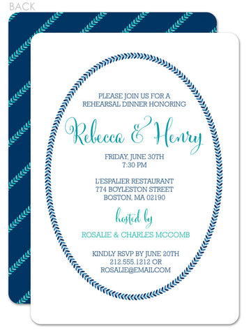 Classic frame invitation for rehearsal in navy and aqua