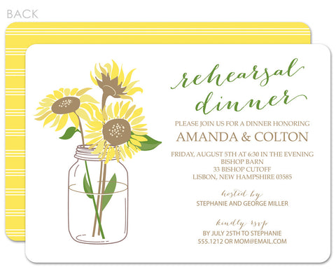 Sunflowers in a mason jar rehearsal dinner invitations