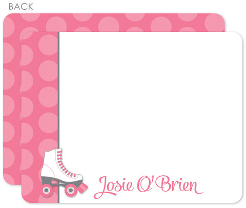 Roller skating flat notecards with pink and hot pink dots