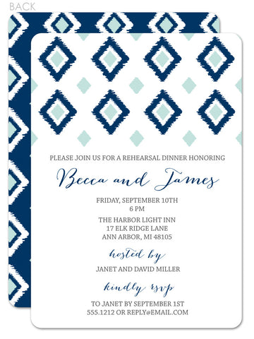 Ikat invitation for rehearsal dinner in navy and mint