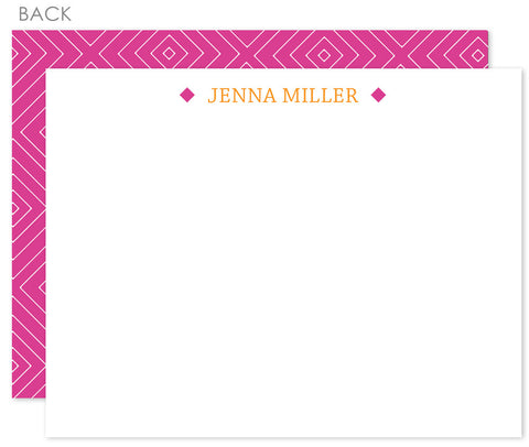 Modern diamonds fuchsia flat notecards