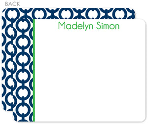Navy chain with grass name on flat notecards