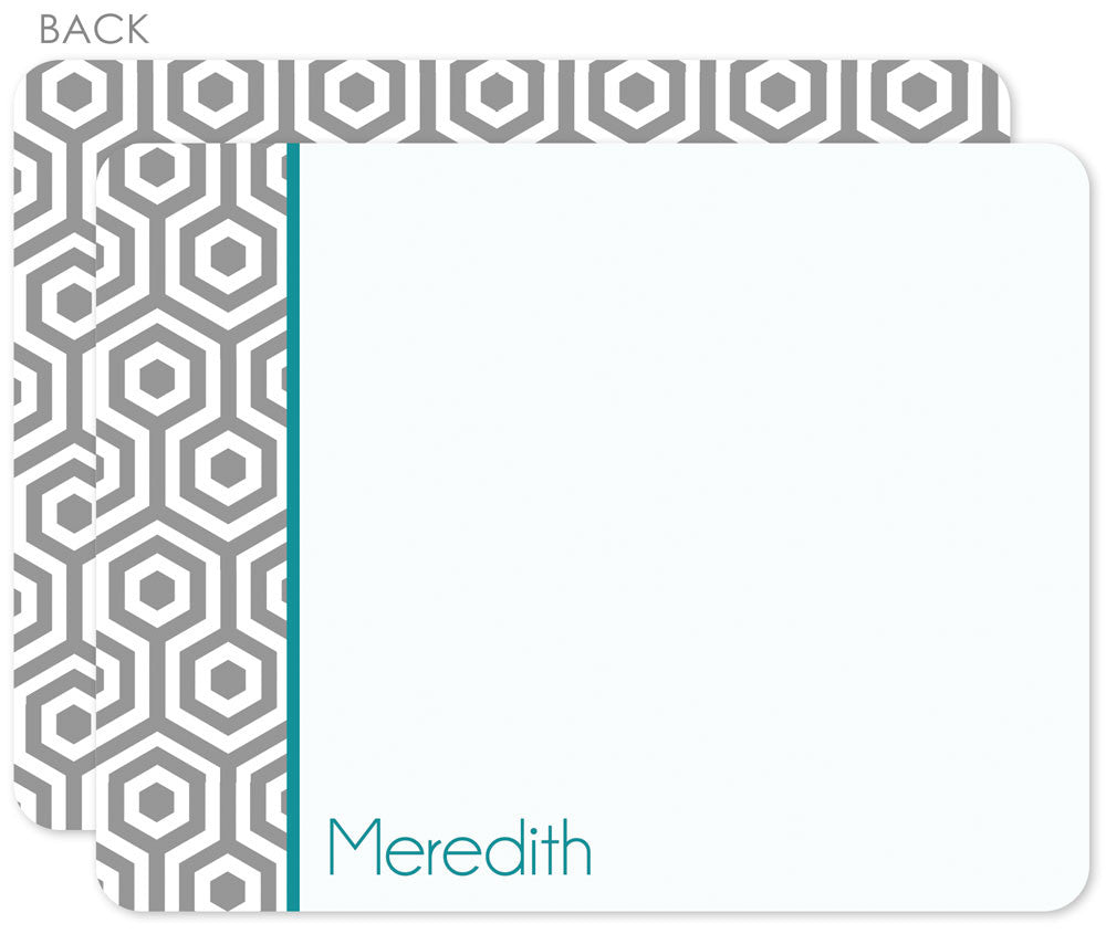 Grey hexagon personalized flat notecards