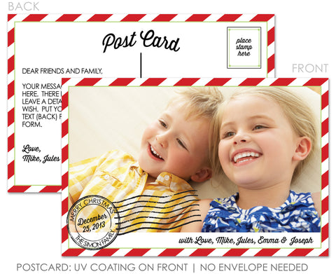 Postage Stamp Postcard Holiday Photo Card