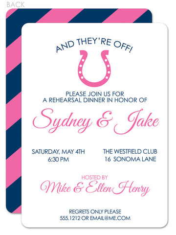 Horse shoe with pink and blue diagonal stripe rehearsal dinner invitation