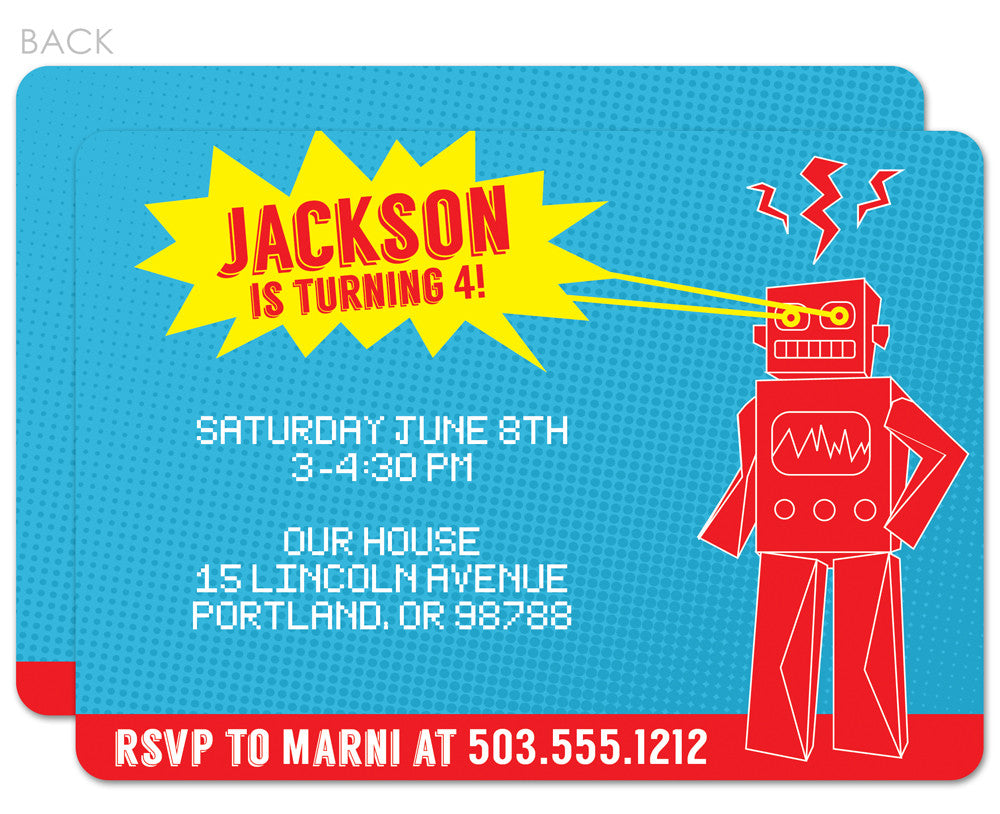 Robot with laser eyes in blue, yellow, and red invitations