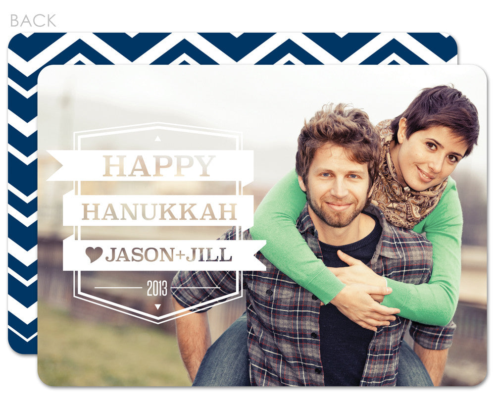 Cutout photo hanukkah card with reverse with chevrons