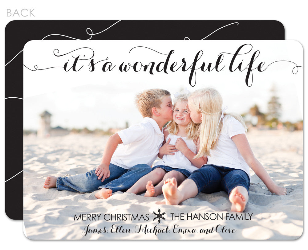 Wonderful Life photo holiday card with black accents