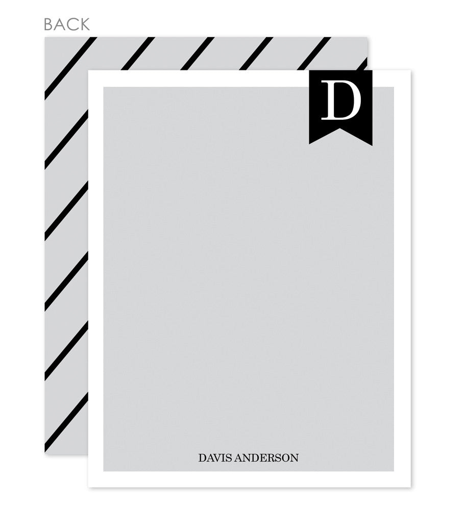 Banner flat notecards in grey and black with diagonal stripes on reverse