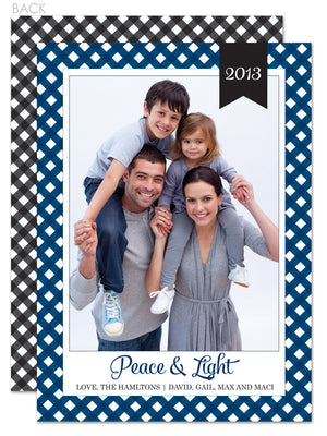 Gingham in black with navy hanukkah photo card
