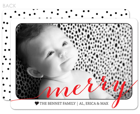 Mini dots holiday photo card with red script