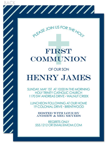 Classic cross first communion invitation in blue and green diagonal stripes