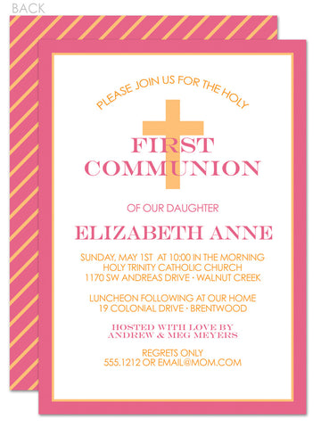 Classic cross first communion invitation in pink and gold diagonal stripes
