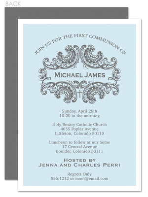 Elegant first communion invitation in blue and grey