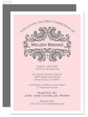 Elegant first communion invitation in pink and grey