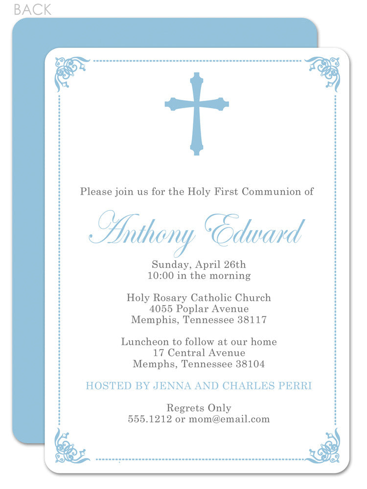 Ornate frame first communion invitation in blue with cross