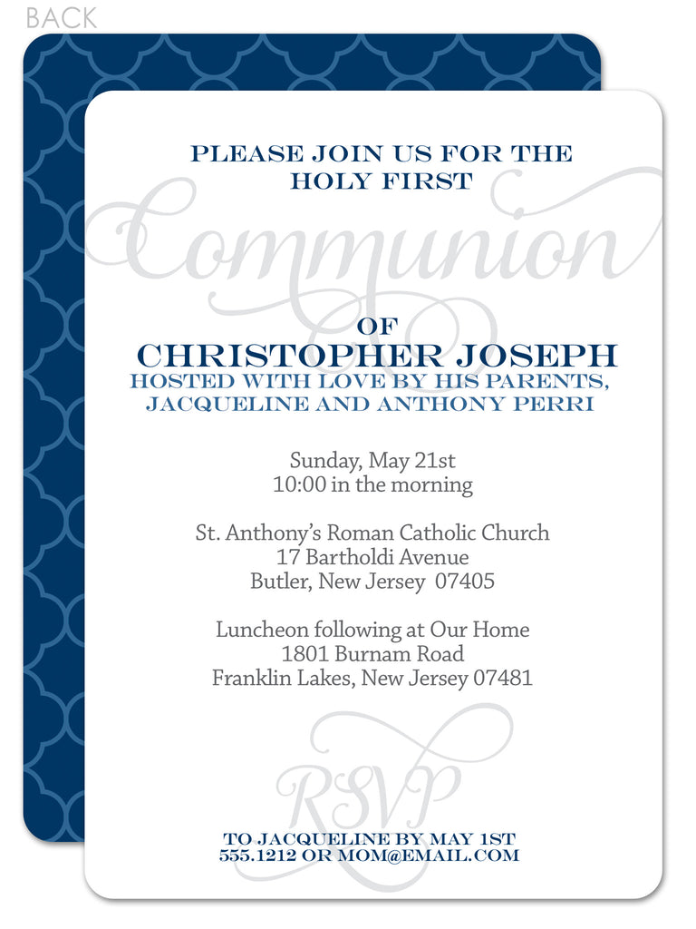 Script navy and grey first communion invitation