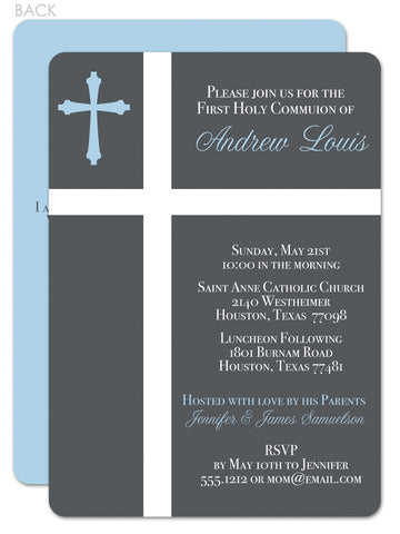Two crosses first communion invitation in blue and grey