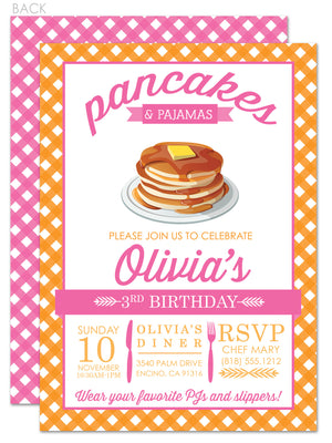 Pancakes and pajamas party in pink and orange invitation