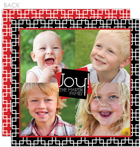 Modern squares in black and red holiday photo card