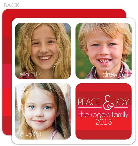 Family Stripes red holiday photo card