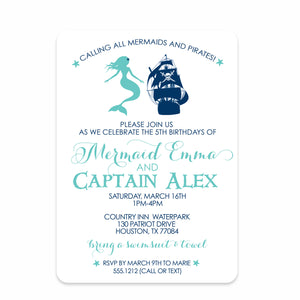Mermaid and Pirate Birthday Invitation | Swanky Press (front view)