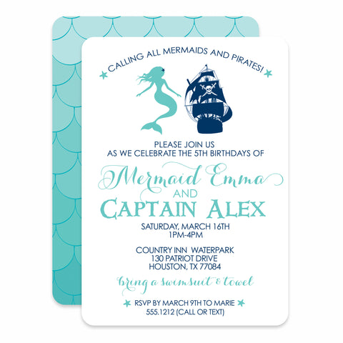 Mermaid and Pirate Birthday Invitation | Swanky Press